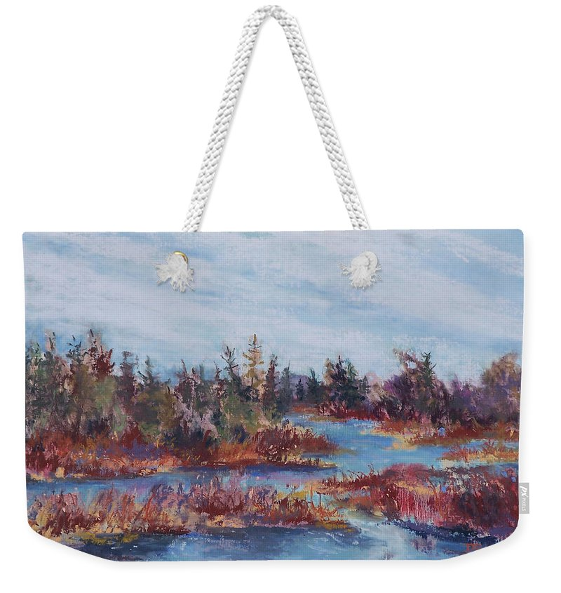 Old Forge Weekender Tote Bag featuring the pastel Adirondak Concerto by Alicia Drakiotes