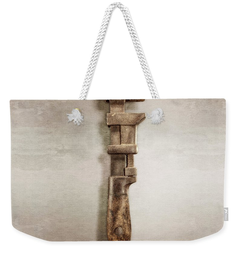 Antique Weekender Tote Bag featuring the photograph Adjustable Wrench Right Face by YoPedro