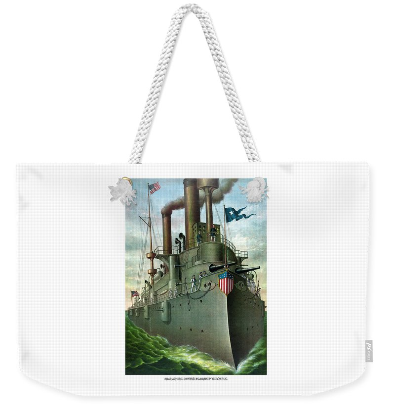 George Dewey Weekender Tote Bag featuring the painting Admiral Dewey's Flagship Olympia by War Is Hell Store