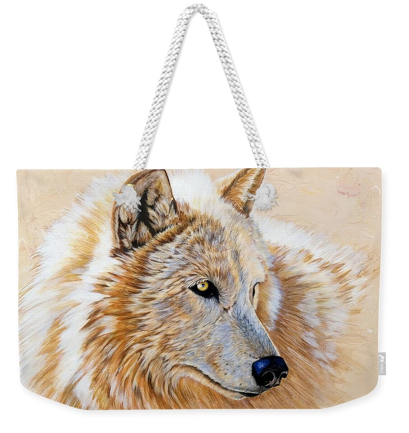 Acrylic Weekender Tote Bag featuring the painting Adobe White by Sandi Baker