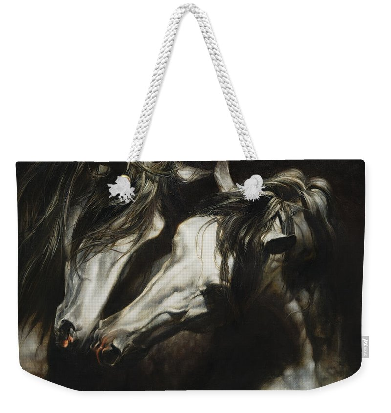Horse Weekender Tote Bag featuring the painting Adoration by Heather Theurer