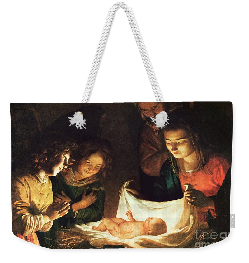 Adoration Of The Baby Weekender Tote Bag featuring the painting Adoration Of The Baby by Gerrit van Honthorst