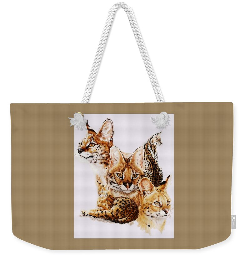 Serval Weekender Tote Bag featuring the drawing Adroit by Barbara Keith