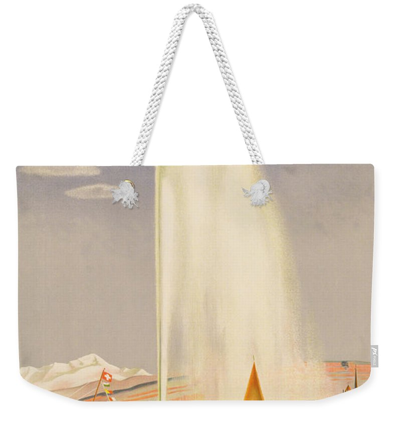 Advertisement For Travel To Geneva Weekender Tote Bag featuring the painting Advertisement For Travel To Geneva by Fehr