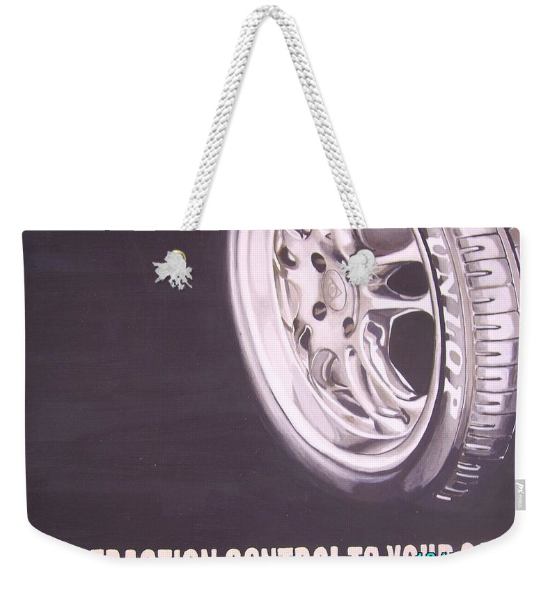 Wheel Weekender Tote Bag featuring the digital art Adverts On Tyres by Olaoluwa Smith