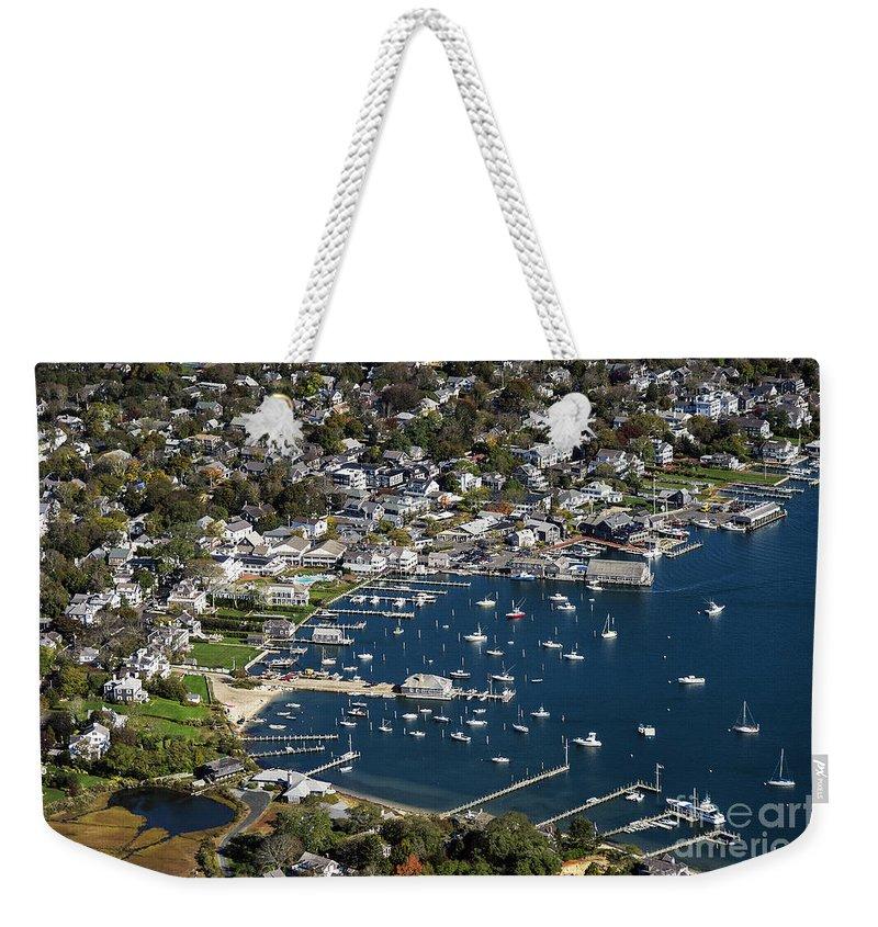 Aerial Weekender Tote Bag featuring the photograph Aerial Edgartown by John Greim