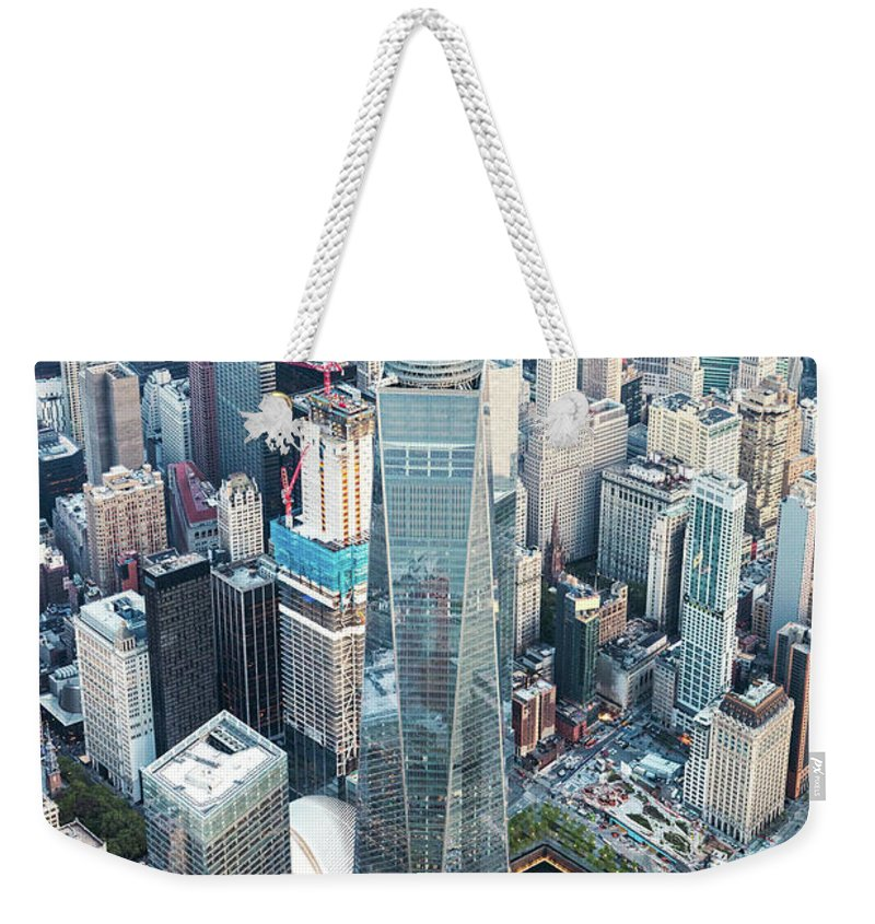 New York Weekender Tote Bag featuring the photograph Aerial Of One World Trade Center, New York, Usa by Matteo Colombo