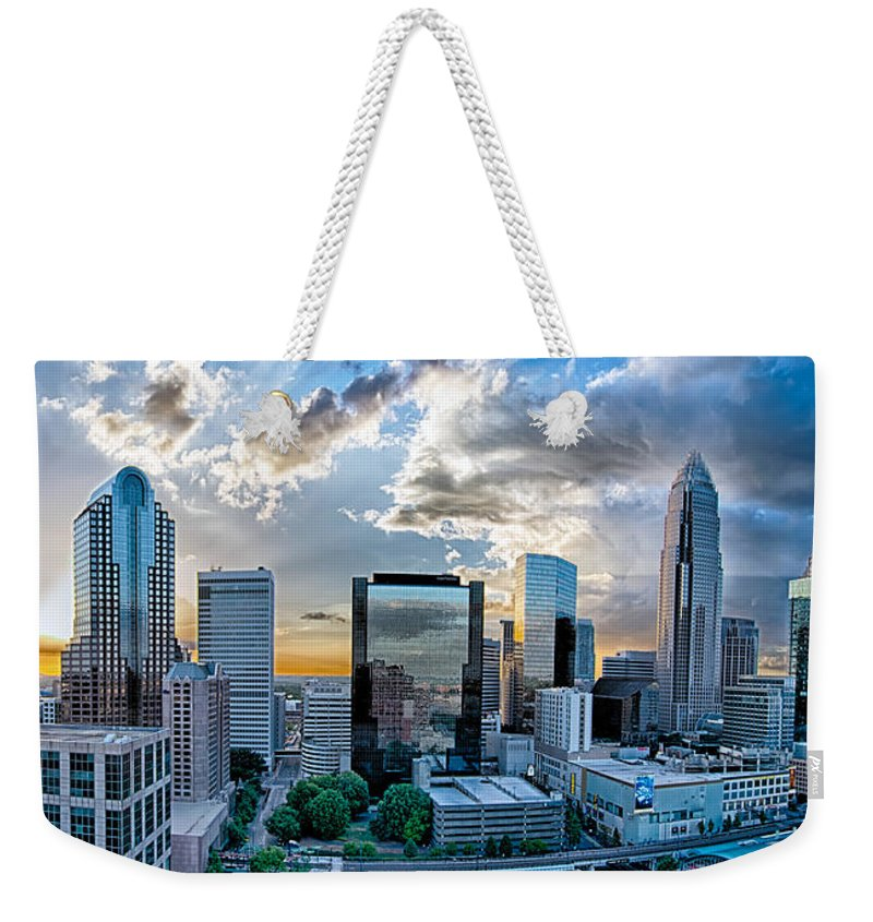 Aerial Weekender Tote Bag featuring the photograph Aerial View Of Charlotte City Skyline At Sunset by Alex Grichenko