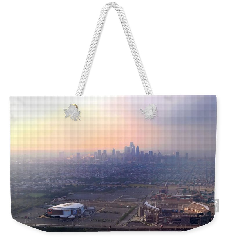Sports Weekender Tote Bag featuring the photograph Aerial View - Philadelphia's Stadiums With Cityscape by Bill Cannon
