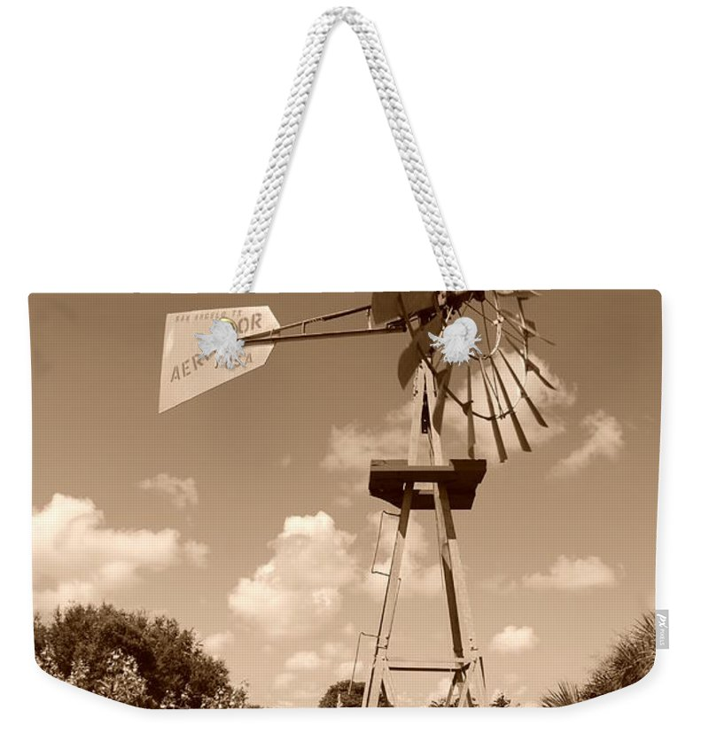 Sepia Weekender Tote Bag featuring the photograph Aermotor Windmill by Rob Hans
