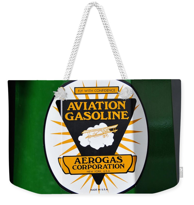 Fine Art Photography Weekender Tote Bag featuring the photograph Aerogas Green Pump by David Lee Thompson