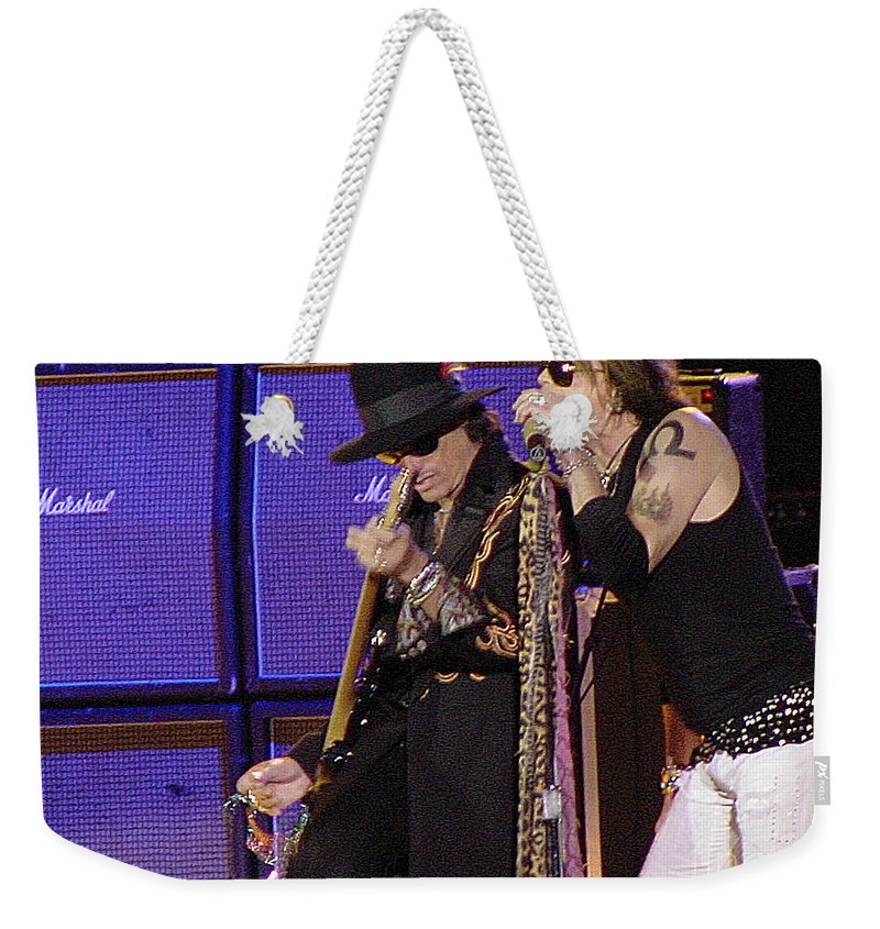 Aerosmith Weekender Tote Bag featuring the photograph Aerosmith - Steven Tyler -dsc00015 by Gary Gingrich Galleries