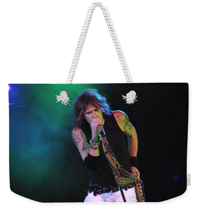 Aerosmith Weekender Tote Bag featuring the photograph Aerosmith - Steven Tyler -dsc00138 by Gary Gingrich Galleries