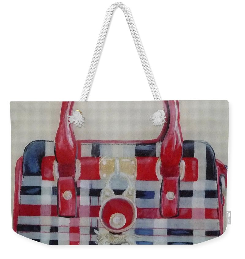 Purse Painting Weekender Tote Bag featuring the painting Affordable Burberry by Tammy Watt