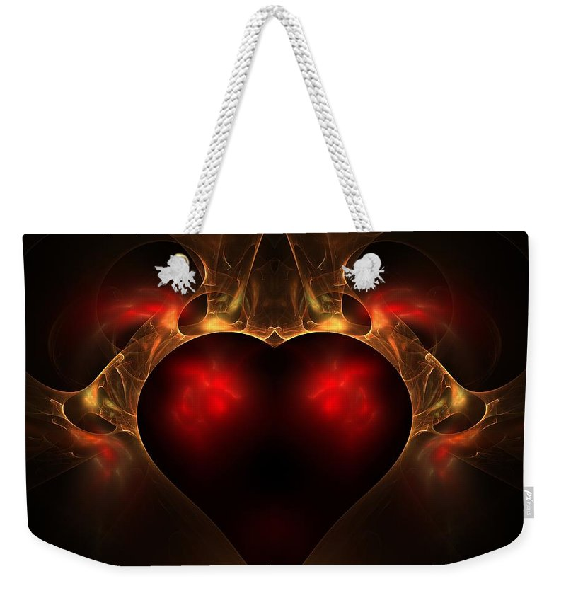 Fractal Weekender Tote Bag featuring the digital art Aflame by Lyle Hatch