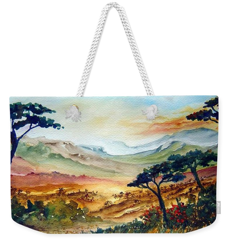 Africa Weekender Tote Bag featuring the painting Africa by Joanne Smoley