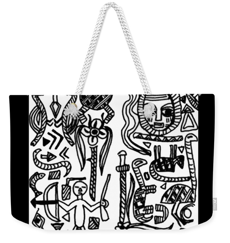 Africa Weekender Tote Bag featuring the drawing Africa Mia by Madalena Lobao-Tello