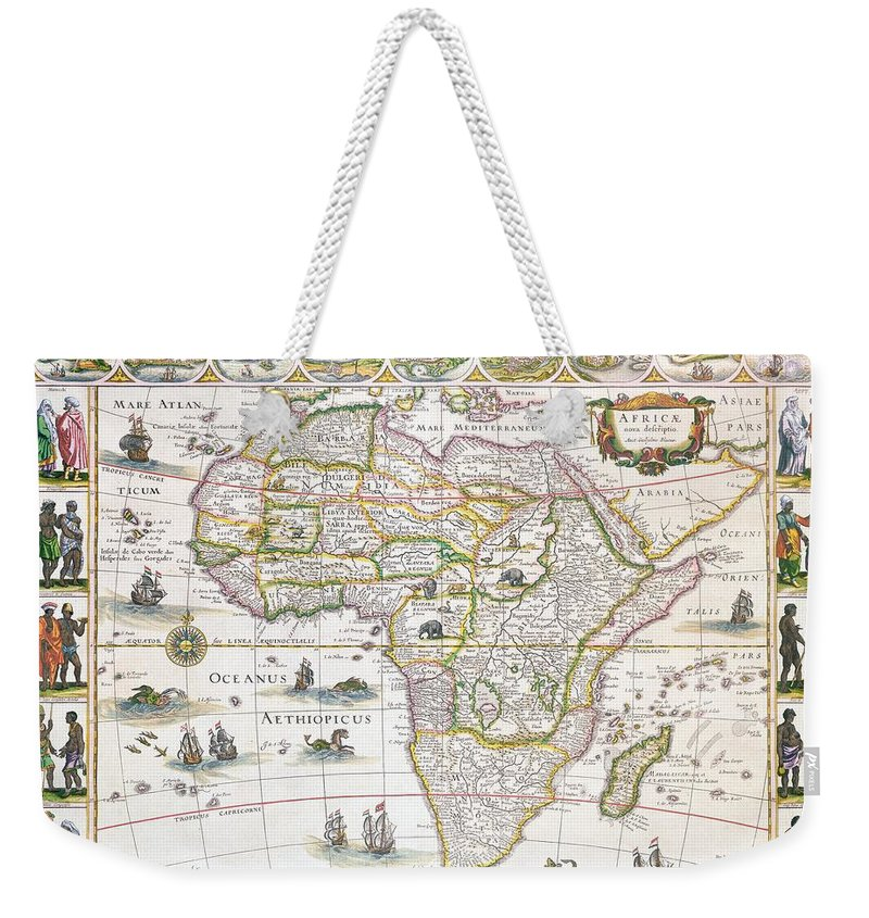Africa Weekender Tote Bag featuring the drawing Africa Nova Map by Willem Blaeu