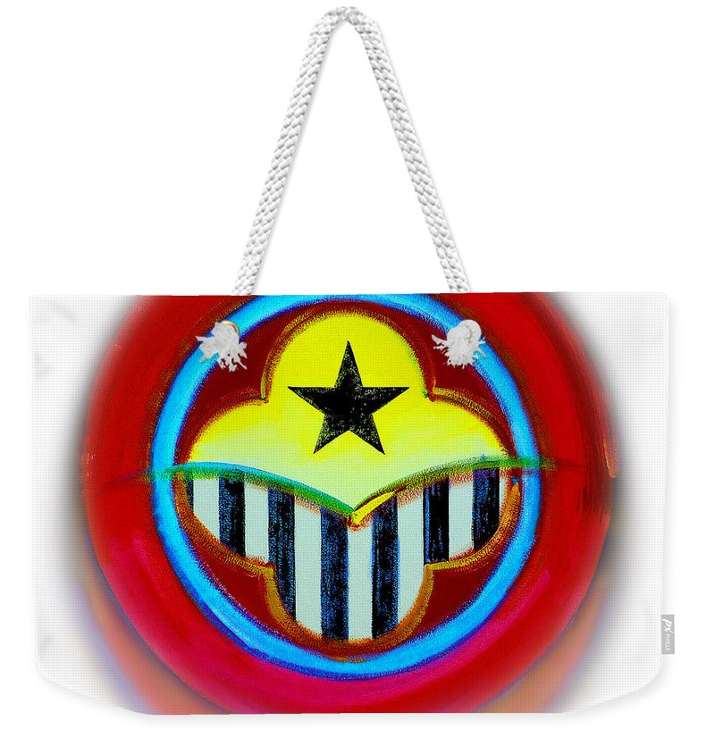African Weekender Tote Bag featuring the painting African American Button by Charles Stuart
