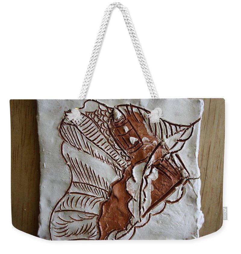 Jesus Weekender Tote Bag featuring the ceramic art African Angel - Tile by Gloria Ssali