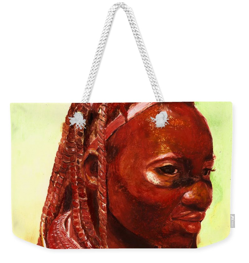 People Portrait Weekender Tote Bag featuring the painting African Beauty by Portraits By NC
