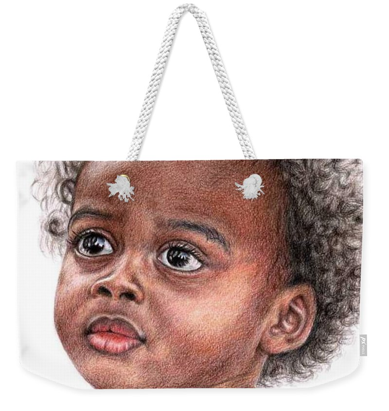 Child Weekender Tote Bag featuring the drawing African Child by Nicole Zeug