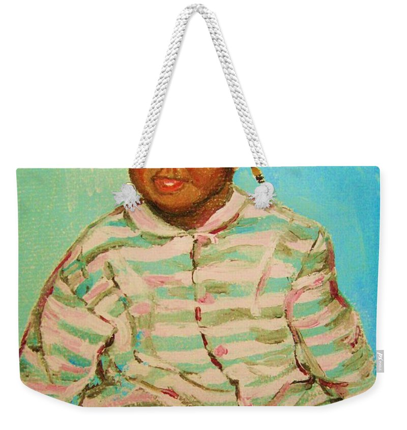 Africa Weekender Tote Bag featuring the painting African Cutie by Carole Spandau
