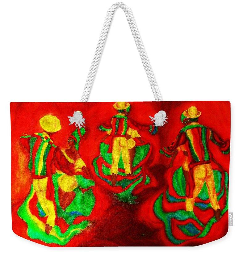 Africa Weekender Tote Bag featuring the painting African Dancers by Carole Spandau