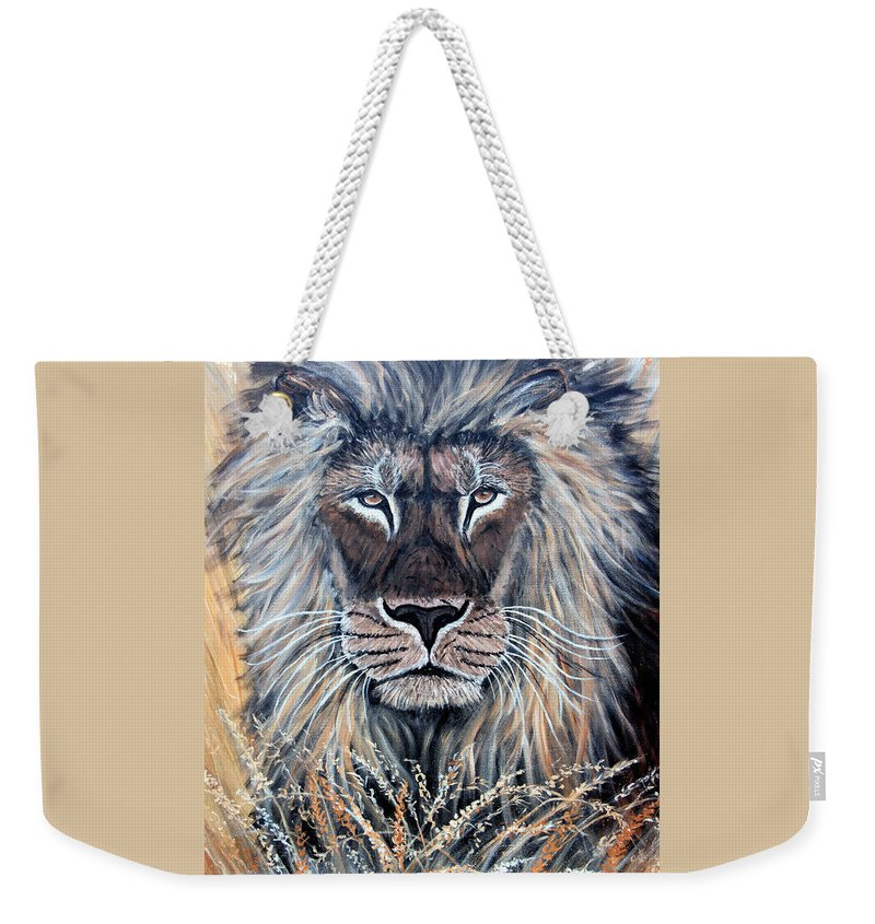 Lion Weekender Tote Bag featuring the painting African Lion by Nick Gustafson