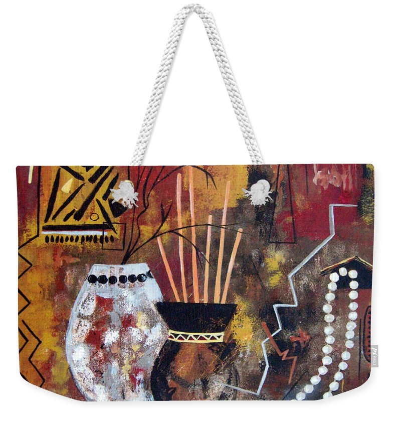 Abstract Weekender Tote Bag featuring the painting African Perspective by Ruth Palmer