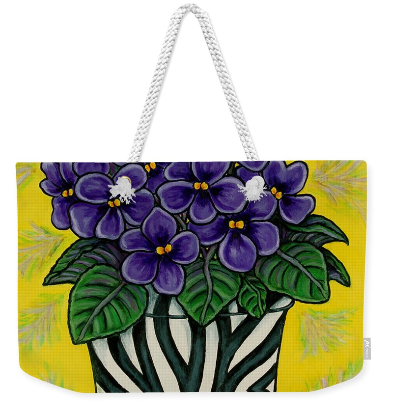 Violets Weekender Tote Bag featuring the painting African Queen by Lisa Lorenz