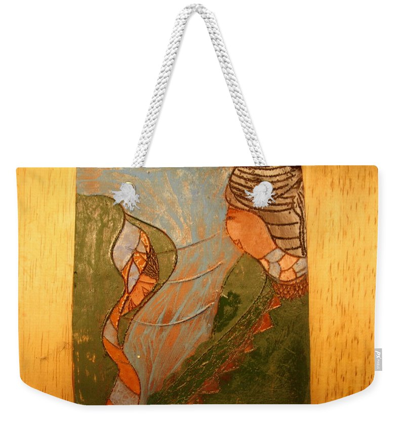 Jesus Weekender Tote Bag featuring the ceramic art African Respect - Tile by Gloria Ssali