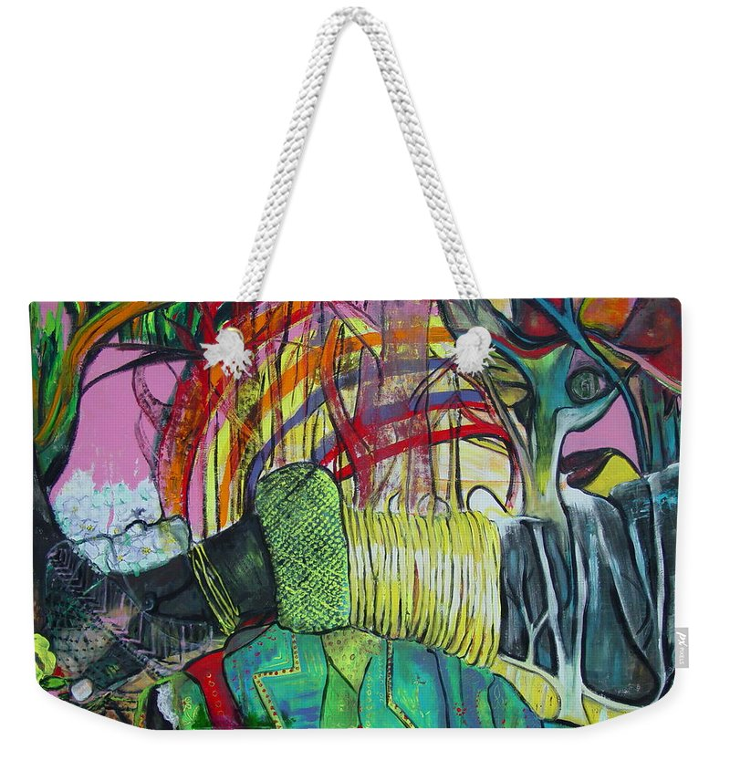 African Lady With Baby Weekender Tote Bag featuring the painting African Roots by Peggy Blood