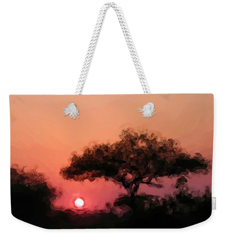 Digital Photography Weekender Tote Bag featuring the photograph African Sunset by David Lane