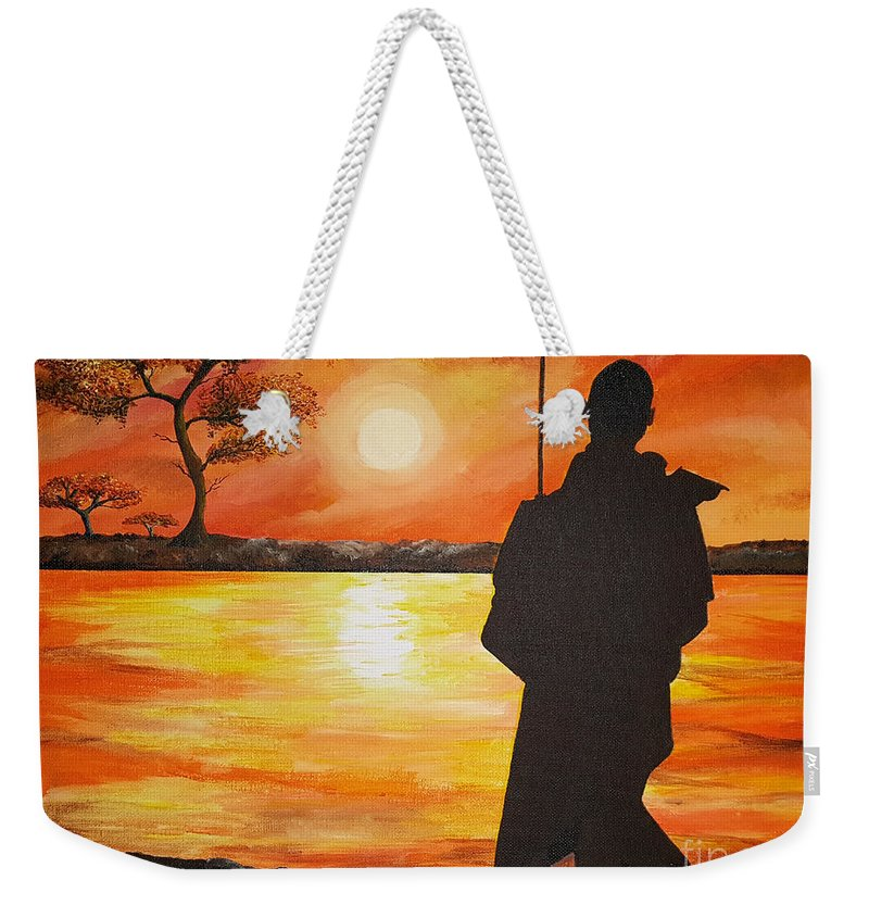 Africa Weekender Tote Bag featuring the painting African Watchman by Suzan Roberts-Skeats
