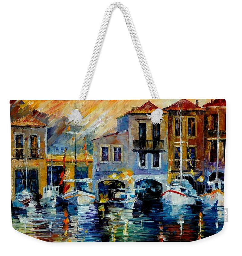 Afremov Weekender Tote Bag featuring the painting After A Day's Work by Leonid Afremov