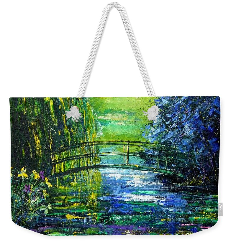 Pond Weekender Tote Bag featuring the painting After Monet by Pol Ledent