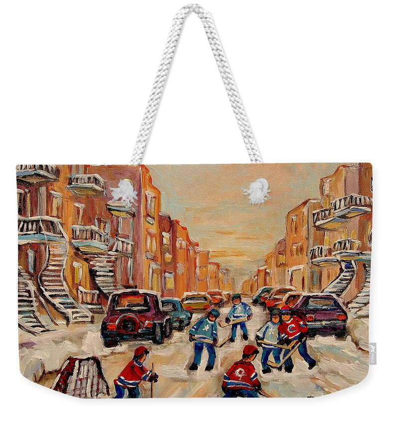 After School Hockey Game Weekender Tote Bag featuring the painting After School Hockey Game by Carole Spandau