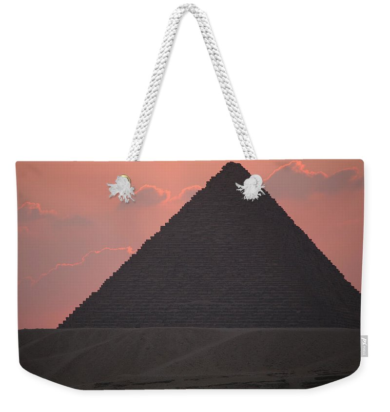 Pyramid Weekender Tote Bag featuring the photograph After Sundown by Donna Corless