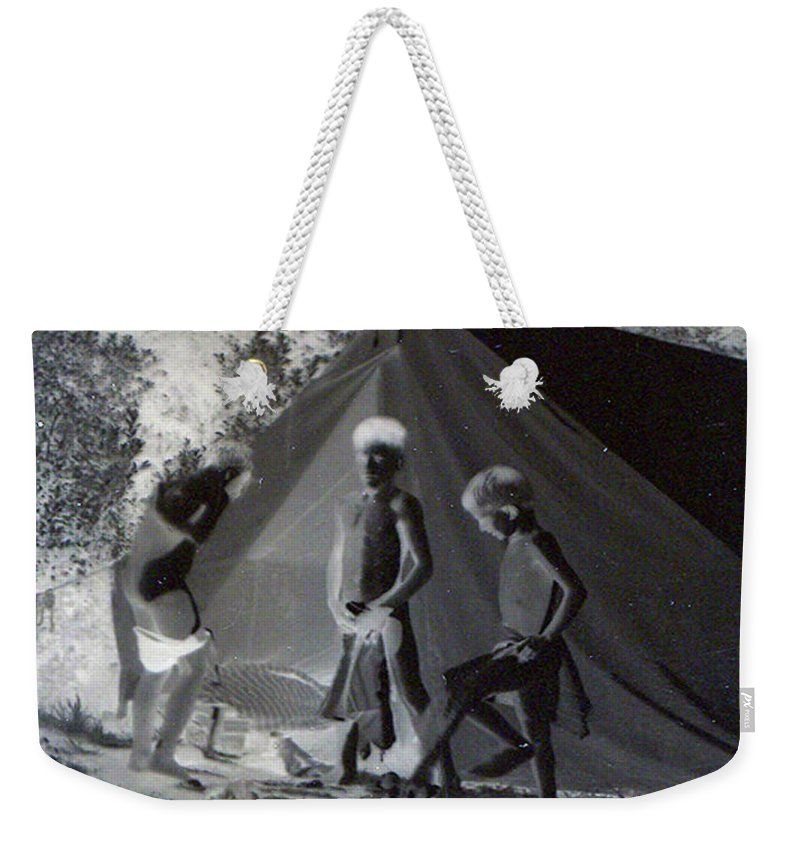 Boys Swimming Camping Tent Nature Clothes Classic 1950s Weekender Tote Bag featuring the photograph After Swimming by Andrea Lawrence