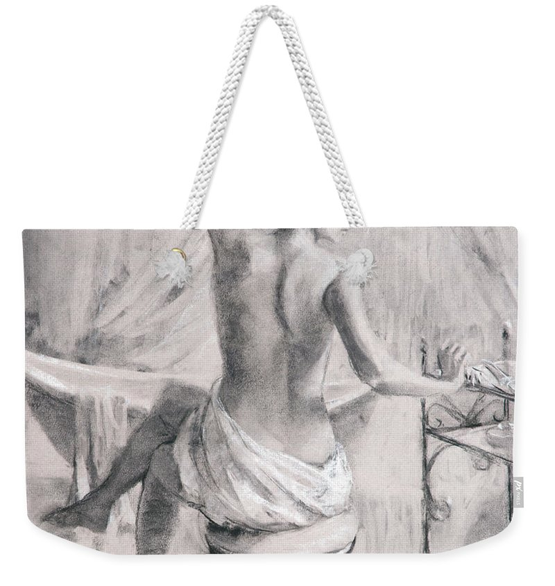 Bath Weekender Tote Bag featuring the painting After The Bath by Steve Henderson