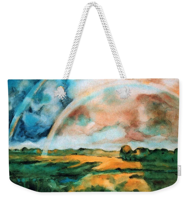 Landscape Weekender Tote Bag featuring the painting After The Rain by Iliyan Bozhanov