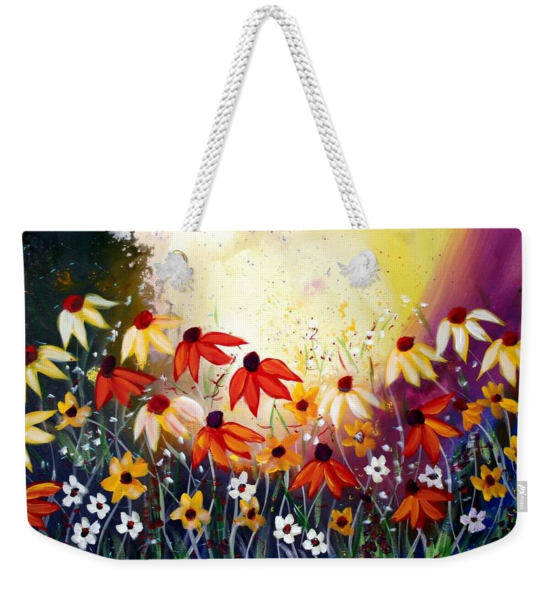 Flowers Weekender Tote Bag featuring the painting After The Rain by Luiza Vizoli