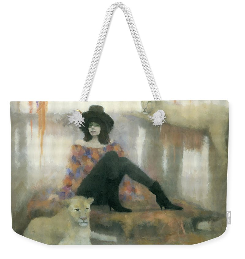 Figurative Weekender Tote Bag featuring the painting After The Show by Steve Mitchell