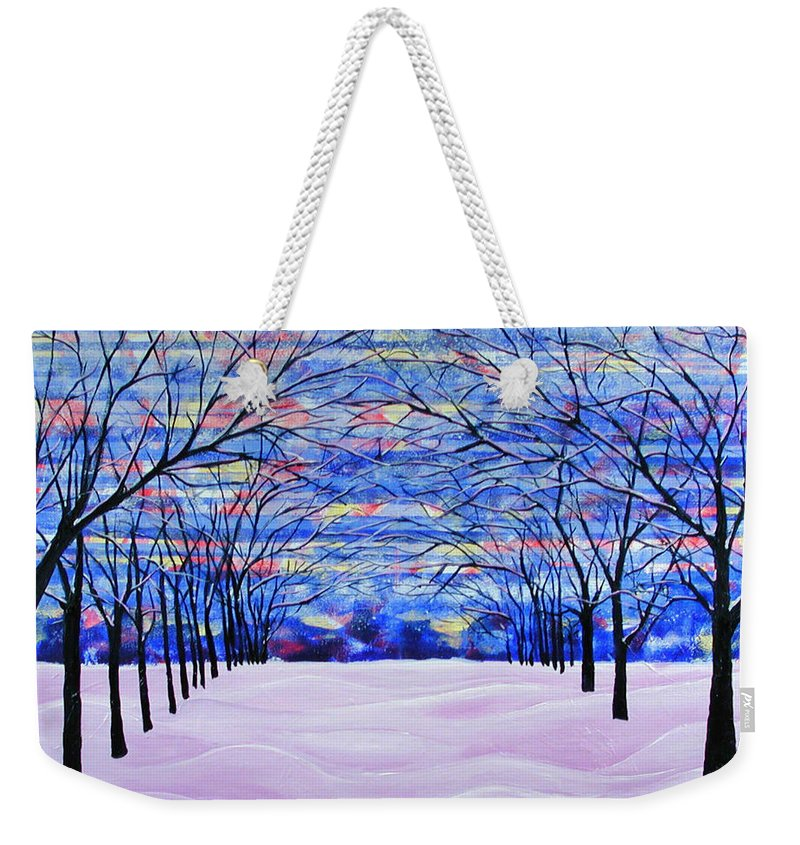 Landscape Weekender Tote Bag featuring the painting After The Snow by Rollin Kocsis