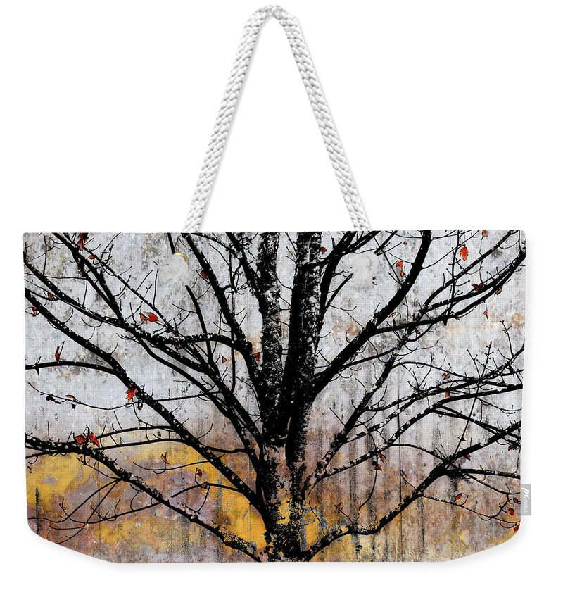 Tree Weekender Tote Bag featuring the mixed media After The Wind by Carol Leigh