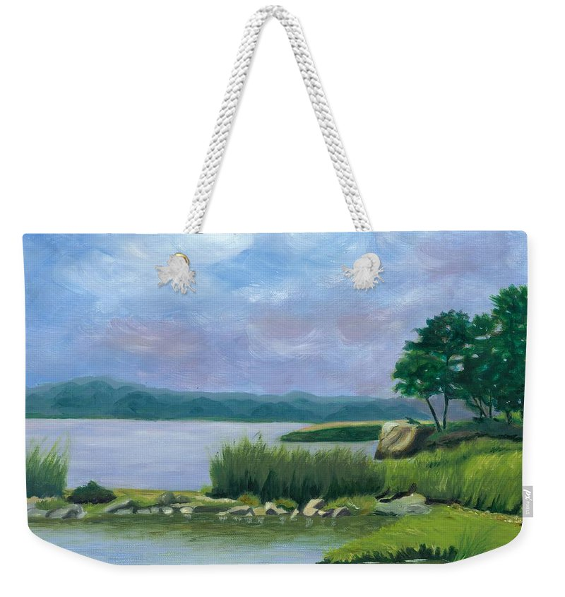 Seascape Weekender Tote Bag featuring the painting Afternoon At Pilgrim by Paula Emery