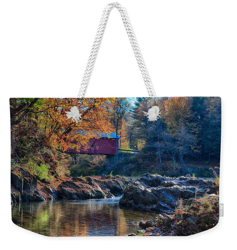 Autumn Foliage New England Weekender Tote Bag featuring the photograph Afternoon Autumn Sun On Vermont Covered Bridge by Jeff Folger