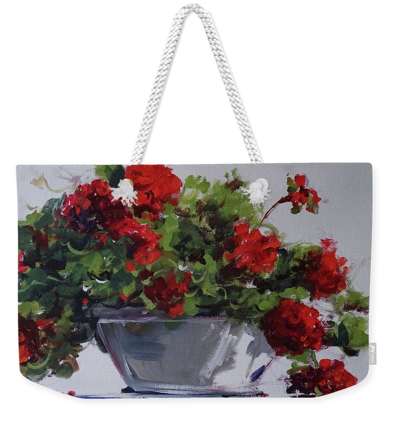 Geraniums Weekender Tote Bag featuring the painting Afternoon Geraniums by Sandra Strohschein