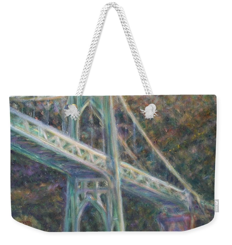 Quin Sweetman Weekender Tote Bag featuring the painting Afternoon Glow On The St Johns by Quin Sweetman